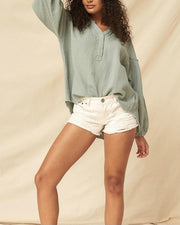 Bubble Drop Sleeve Henley Top