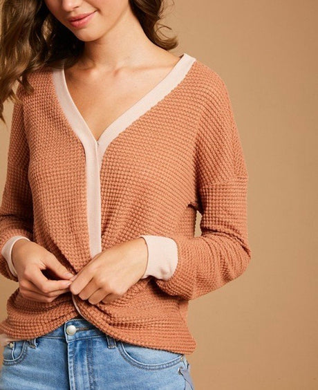 Waffle Knit Twist Front Top