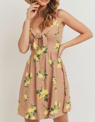 Lemon Print Tie Front Dress