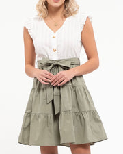 Tiered 2-Fer Dress with Tie Waist
