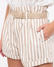 Jute Belt Stripe Cuff Short