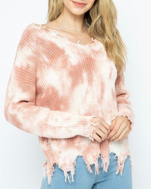 Destruct Edge Tie Dye Vneck Sweater