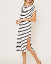 Stripe Knit Midi Dress w/Split