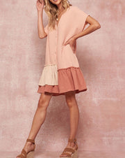 Asymmetrical Ruffle Hem Button Dress