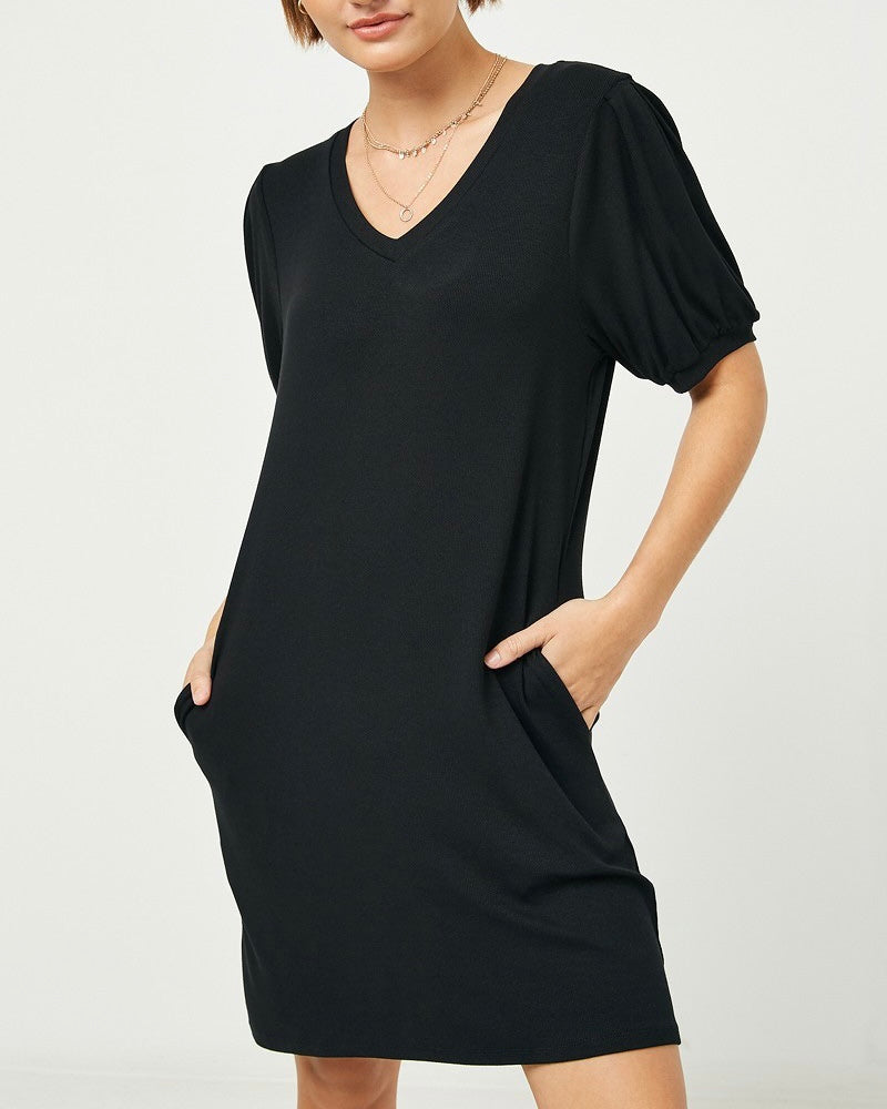 Puff Sleeve Rib Knit Dress with Pockets
