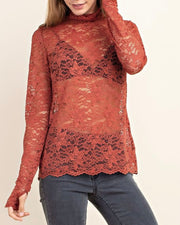 Lace Scallop Edge High Neck Top