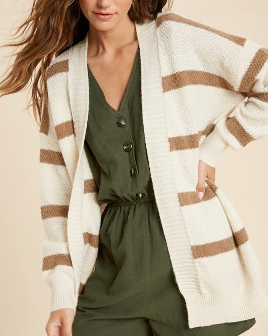 Wide Stripe Open Front Cardigan