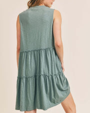 Tiered V-Neck Babydoll Dress