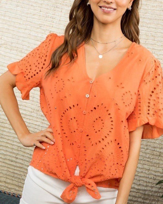 Eyelet Tie + Button Front Top