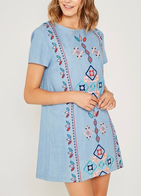 Tribal Embroidered Shift Dress