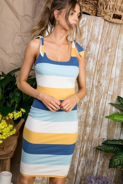 Tie Shoulder Stripe Bodycon Dress