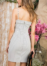 Striped Tie Front Fitted Dress