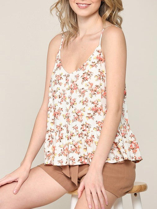 Floral Button Front Babydoll Tank
