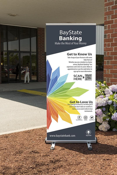 "Outdoor Retractable Banner Stand w/ (2) 39"" x 79"" Custom Graphics - Silver (x2020) - Custom Allstars"