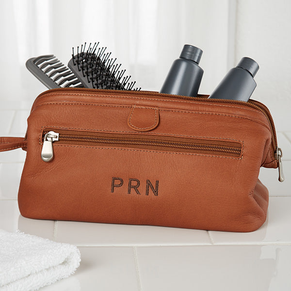 Personalized Tan Leather Toiletry Bag - Custom Allstars
