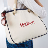 Embroidered Canvas Rope Tote- Name - Custom Allstars