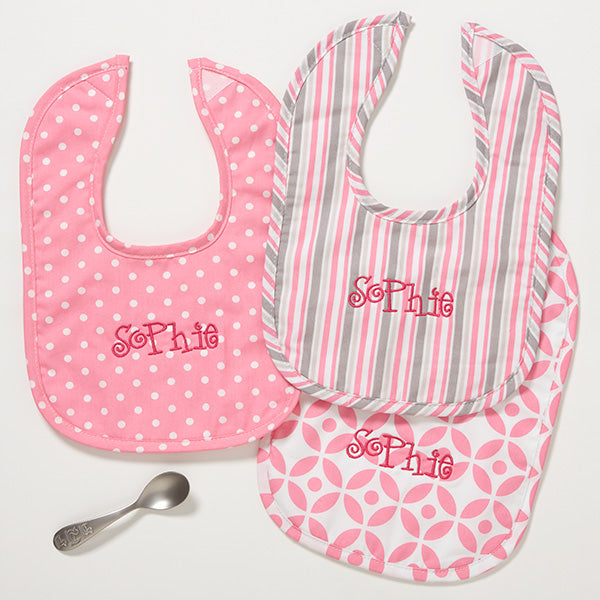 Pretty In Pink Personalized Baby Bib - Set of 3 - Custom Allstars