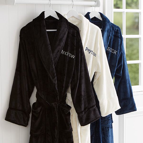 Just For Him Embroidered Luxury Fleece Robe- Name - Custom Allstars