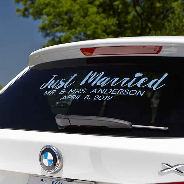 Just Married Personalized Window Decal gift - Custom Allstars