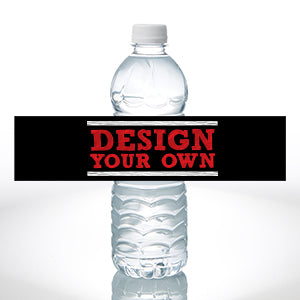 Design Your Own Personalized Water Bottle Labels - Set of 24 - Black - Custom Allstars
