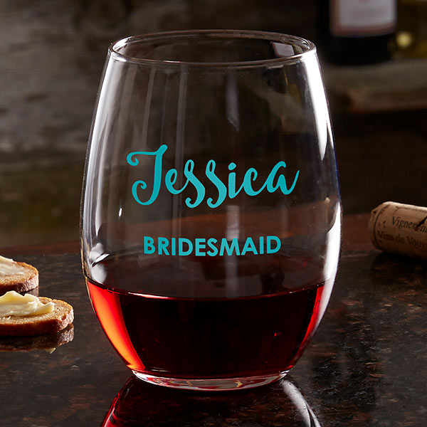 Bridal Party Personalized Stemless Wine Glass gift - Custom Allstars