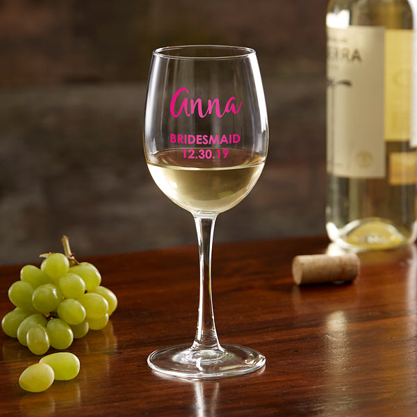Bridal Party Personalized White Wine Glass gift - Custom Allstars