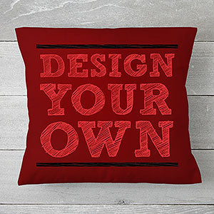 "Design Your Own Personalized 14"" Throw Pillow- Burgundy - Custom Allstars"