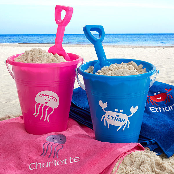 Sea Creatures Personalized Plastic Beach Pail & Shovel - Custom Allstars