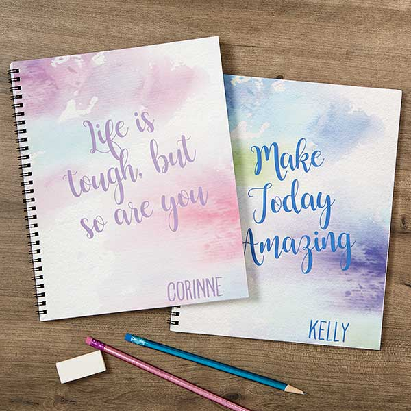Watercolor Personalized Large Notebooks-Set of 2 - Custom Allstars