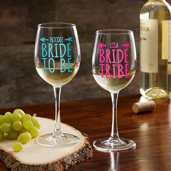 Bride Tribe Personalized 12oz. White Wine Glass gift - Custom Allstars
