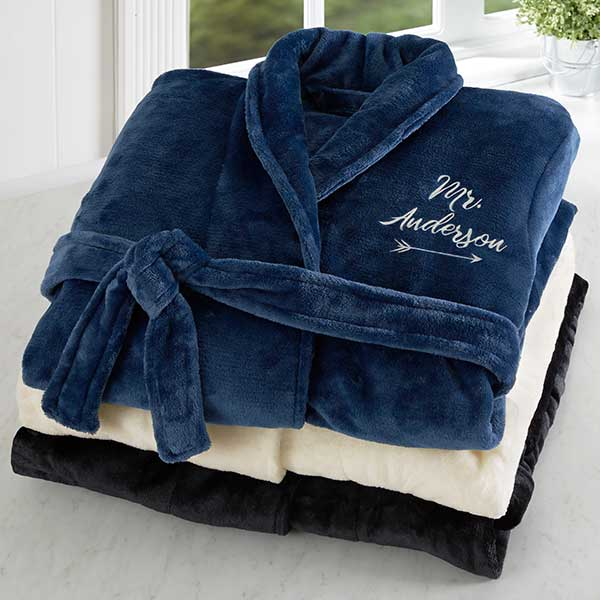 Mr. Embroidered Luxury Fleece Robe - Custom Allstars