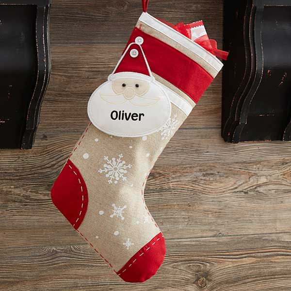 Santa Christmas Button Personalized Stocking - Custom Allstars