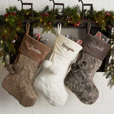 Embroidered Grey Faux Fur Christmas Stocking - Custom Allstars