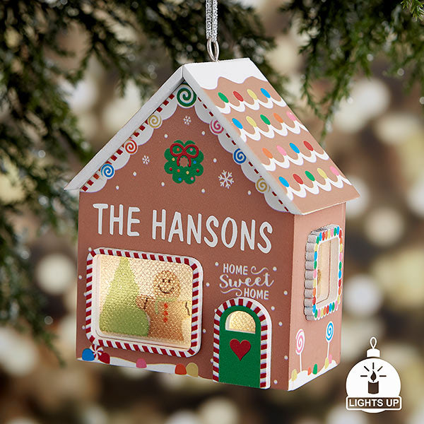 Gingerbread House Personalized Light Up Ornament gift - Custom Allstars