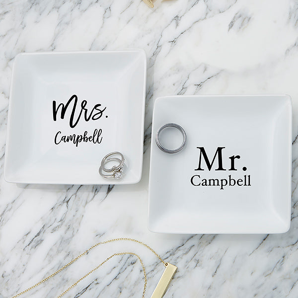 Mr. & Mrs. Personalized Ring Dish gift - Custom Allstars