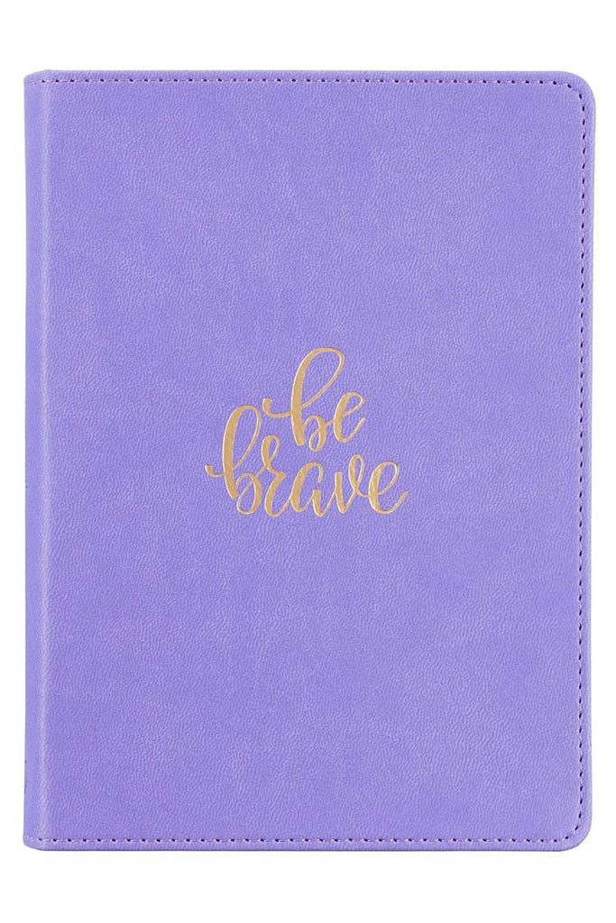 BLING TEAM GIFT - Be Brave Lavender Handy-Sized LuxLeather Journal BONUS Gem pen