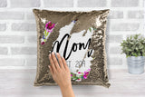 Floral Mom Est. Gold Sequin Pillow