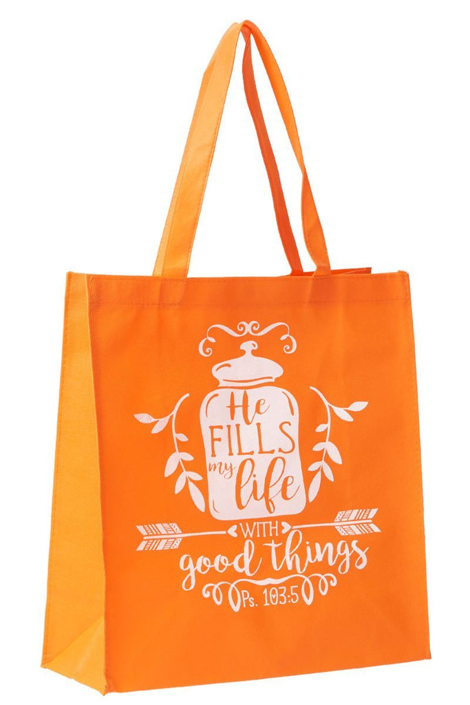BLING TEAM GIFT - Psalm 103:5 'He Fills My Life' Orange Tote Bag