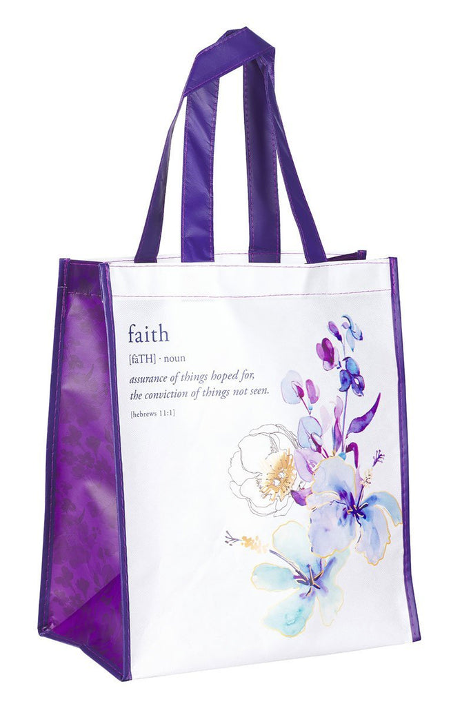 BLING TEAM GIFT - Hebrews 11:1 Faith Definition Floral Tote Bag