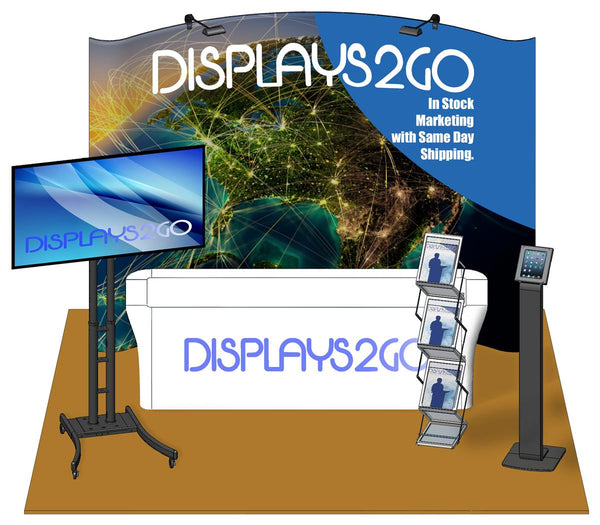 Trade Show Kit w/ Custom Graphic, Magazine Rack, iPad & TV Stand, & Full Print Cover (x2020) - Custom Allstars