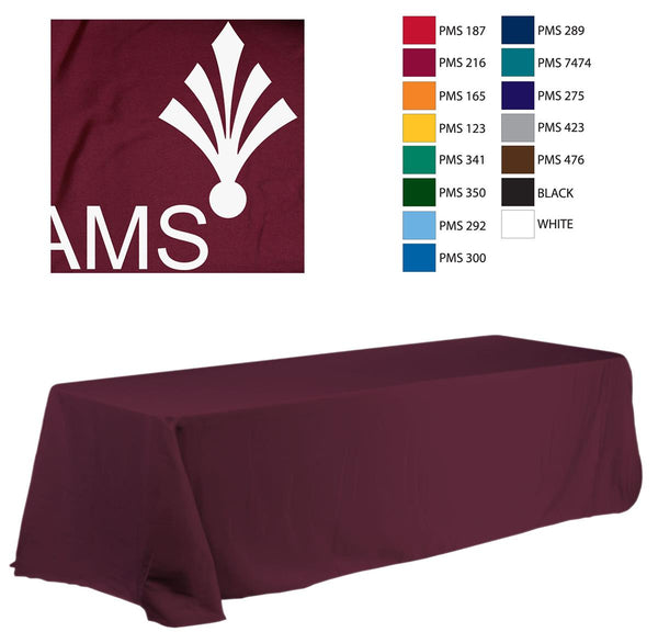 8' Table Cloth, Round Corners, with Custom 1 Color Imprint - Burgundy (x2020) - Custom Allstars
