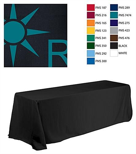 8' Table Cloth, Round Corners, with Custom 1 Color Imprint - Black (x2020) - Custom Allstars