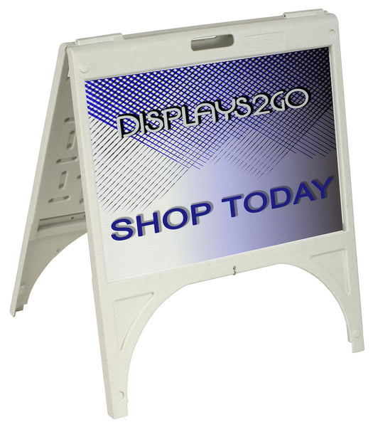 Sidewalk Sign w/ (2) 24 x 18 Poster Boards, Full Color UV Custom Printing - White (x2020) - Custom Allstars