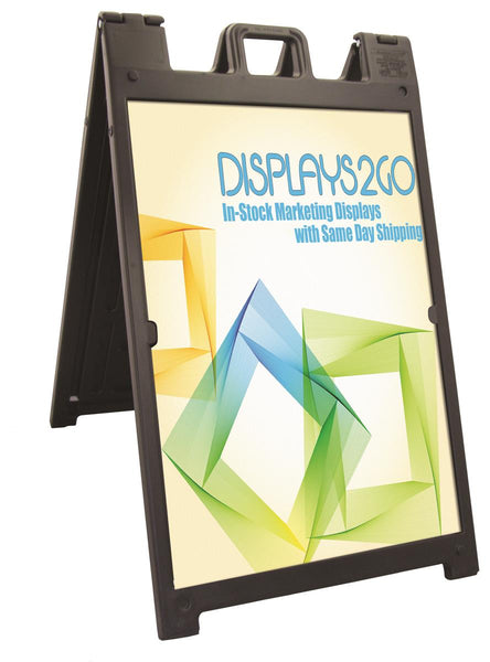 Sidewalk Sign w/ (2) 24 x 36 UV Custom Coroplast Boards, Double Sided - Black (x2020) - Custom Allstars