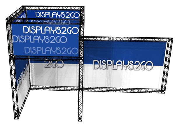 20' x 12' Trade Show Truss Booth w/ Header & Custom Graphics, Travel Cases - Black (x2020) - Custom Allstars