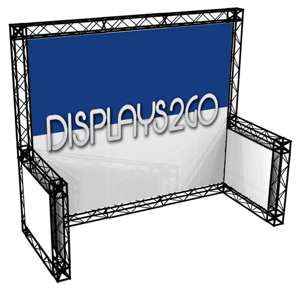 10' x 10' Trade Show Truss Booth with Sidewalls, Double-Sided Graphics - Black (x2020) - Custom Allstars