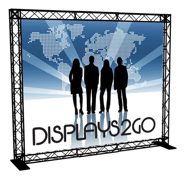 10' Trade Show Truss Booth w/ Single Sided Custom Graphic, 2 Shipping Cases – Black (x2020) - Custom Allstars