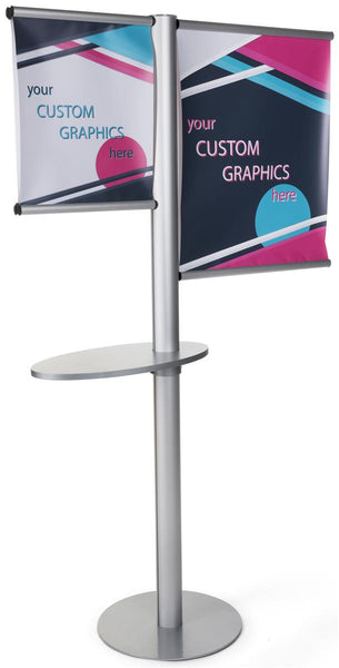Double Sided Banner Stand w/ Custom Graphics & Oblong Shelf - Silver (x2020) - Custom Allstars