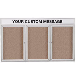 "72"" x 48"" Enclosed Bulletin Board with Custom Header, 3 Locking Doors - Silver (x2020) - Custom Allstars"