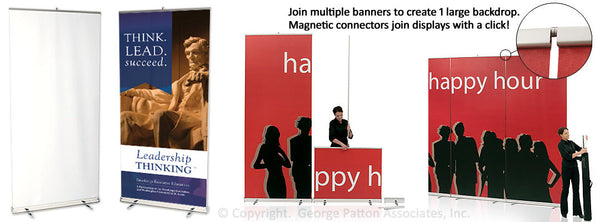 "Retractable Banner Stand with 47"" x 118"" Custom Printed Graphic - Silver (x2020) - Custom Allstars"